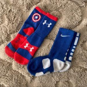 Youth UA and Nike Socks
